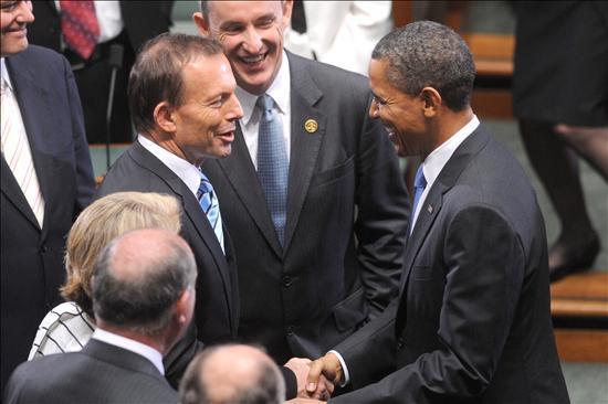 El presidente de EEUU, Barack Obama, y el primer ministro electo de Australia, el conservador Tony Abbott