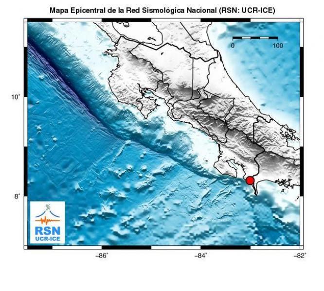 Un sismo de intensidad considerable sacudió a los vecinos de Golfito al ser las 4:34 de la tarde de este sábado