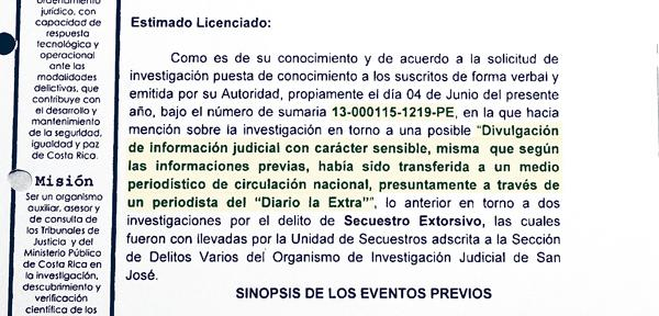 Las autoridades judiciales dan cuenta del registro telefónico hecho a este medio y a sus periodistas en el expediente No.13-000115-1219-PE