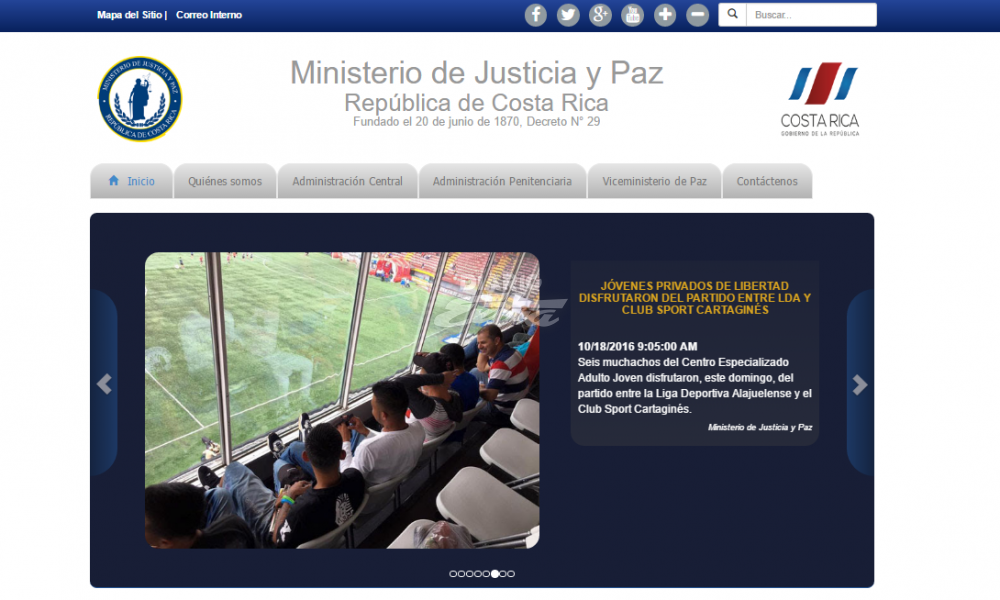 Diario extra ministerio de justicia y paz tiene nueva for Pagina web ministerio interior