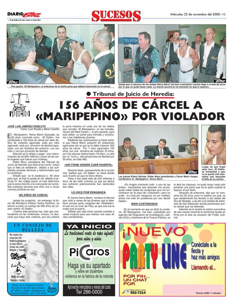 En la foto se observa la información publicada por DIARIO EXTRA en noviembre  del 2000 cuando el maripepino fue sentenciado a 156 años de prisión por el delito de violación en serie.