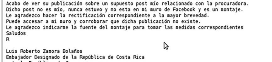 En este correo electrónico Zamora alegó que se trataba de un montaje y negó haber escrito el texto