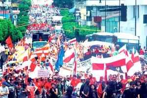 Comenzaron los preparativos del desfile de los trabajadores del 1º de mayo