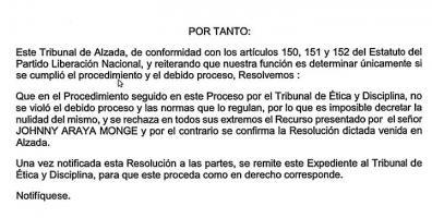 Resolución que ratifica el castigo