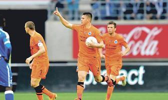 El defensor Óscar Duarte fue figura este domingo cuando anotó en el empate de su equipo el Brujas frente al Gent