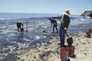 Voluntarios llenaron recipientes con lodo contaminado en una playa después de la ruptura