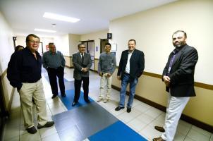 Manuel Emilio Rodríguez, representante de Taxis Unidos; el exdirector del CTP; Juan Diego Castro, abogado de Taxis Unidos; y Mario Zárate, director del CTP