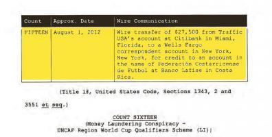 Transferencia bancaria que se aporta en la acusación en Estados Unidos contra Li