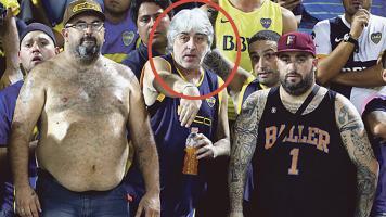 Rafael Di Zeo (centro) es el líder de La Doce, barra brava que apoya al equipo xeneize en todos los estadios