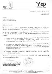 Una de las cartas que ha enviado Olga Umaña denunciando esta y otras actuaciones presuntamente irregulares