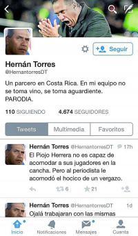 Así aparece el falso perfil de Hernán Torres en Twitter