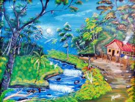 "Aquí en ""Vida campesina"" se observa una estampa típica costarricense"