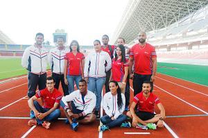 Parte de la delegación de Costa Rica que ayer fue juramentada para el Campeonato Norte, Centroamericano y del Caribe de Atletismo. (Foto: David Barrantes)