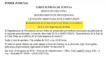 Publicación en La Gaceta donde invitaban a proveedores