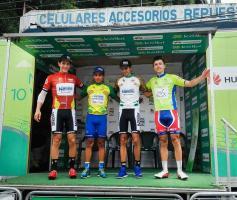 Gabriel Marín (metas volantes), Rodolfo Villalobos (general), Daniel Bonilla (sub-23) y Carlos Andrés Brenes (etapa) fueron los campeones de la Vuelta al Caribe. (Foto: Manuel Zamora)