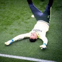 Keylor Navas durante el entrenamiento del Real Madrid previo al juego de hoy en San Sebastián