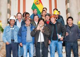 Evo Morales desfiló con los obreros de Santa Cruz en mayo de 2013