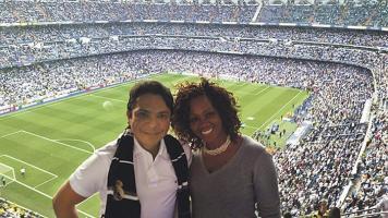 Disfrutaron el ambientazo de la Champions League.